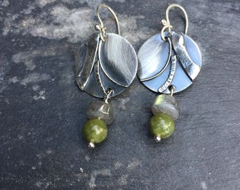 Sterling earrings, labradorite, jade, textured sterling, beaded accents, hancrafted french wires