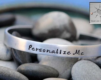 Personalized Bracelet - Hand Stamped Bracelet - Personalized Jewelry - Custom Narrow Aluminum Cuff - Made to Order