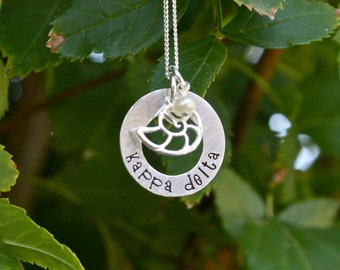 Kappa Delta Necklace Washer Style Sterling Silver - Sorority Jewelry, Big Sis / Lil Sis, Initiation Gift Sorority Graduation Gift