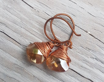 Peach and Copper Wrapped Briolette Earrings. Faceted Peach Glass and Copper Drop Earrings. Copper wire wrapped.  JemstoneZ Earrings.