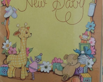 Vintage new baby cards unused deadstock 1970's kitsch