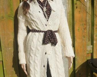 hand-knitted pure wool aran Irish cardigan