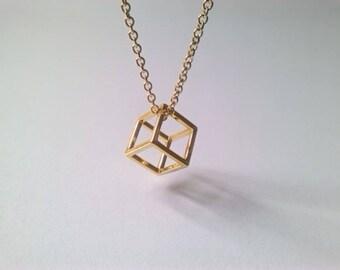 Cubes cube 3d Minimalist gold necklace 18 ' ' 45cm