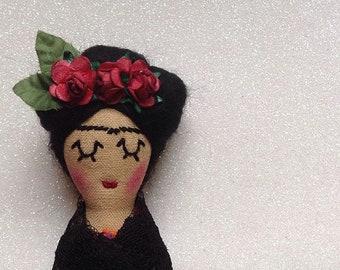 Frida Inspired Mini Icon Doll. Cloth Doll. Art Doll