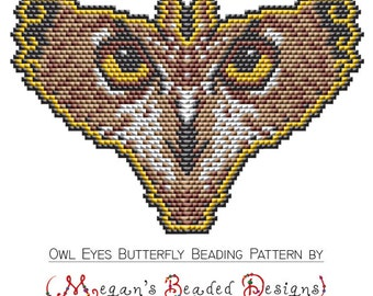 Owl Face Eyes Butterfly Beading Pattern for Amulet Pendant Ornament or Suncatcher in Sculptured Brick Stitch Bead Design