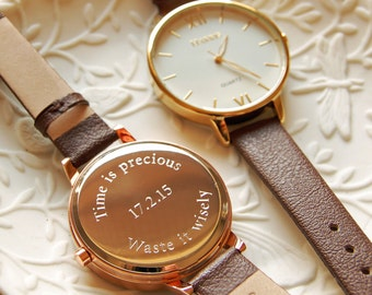 Personalised Ladies' Leather Strap Watch W001 (3 lines)