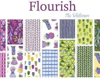 Flourish Fat Quarter Bundle, 17 Pieces, Mia Whittemore, Windham Fabrics, Precut Fabric, Quilt Fabric, Cotton Fabric, Floral Fabric