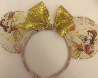 Belle Mouse Ears, Gold Glitter Ears, Gold Princess Mouse Ears, Fancy Mouse Ears, Inspired By Disney Princesses