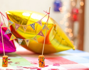 HAPPY BIRTHDAY Handmade Cake Topper Garland, mini paper bunting, Happy Birthday Flag Cake Topper