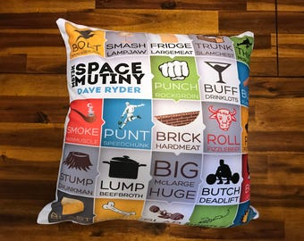 MST3K Space Mutiny 18x18 Square Pillow OR Pillow Case - Decorative Dave Ryder Names - Rifftrax Gift 18 Mystery Science Theater 3000
