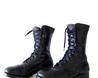 50% of Proceeds go to Planned Parenthood! Vintage Black Combat Boots, International Shoe Co, Black Leather Boots, Men's Shoes 9.5-10.5, 1956