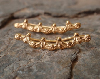 crown earrings, gold crown ear climbers, ear crawlers rose yellow gold sterling silver crown cuff earrings, ear pins cuffs bridesmaid gift