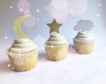 Twinkle Twinkle Little Star  Star Cupcake Toppers  Cloud Toppers  Moon Toppers  Glitter Toppers  Star Picks  Moon Picks  Cloud Picks