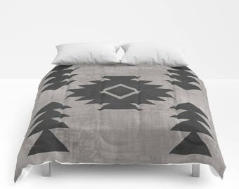 Bohemian Comforter, Full Queen King Duvet, Tribal Pattern, Tribal Print Bed Cover, Boho Bedding, Distressed Duvet Cover, Boho Home Decor