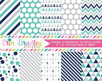 80% OFF SALE Commercial Use Digital Paper Pack, Navy Blue Turquoise Silver Digital Papers, Polka Dot Arrow Chevron Striped Doodle Digital Pa