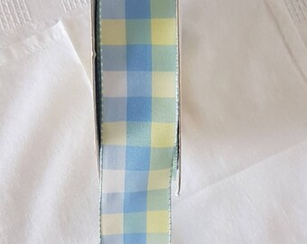 Wired Edge White, Blue and Yellow Checked- 100% Polyester- Gift wrapping