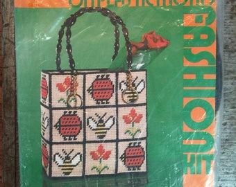Vintage New In Package 1972 Pauline Denham Needlepoint on Plastic Motifs Tote Bag Kit