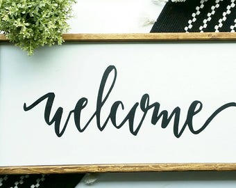 Farmhouse wood frame sign - 12x24 Welcome sign