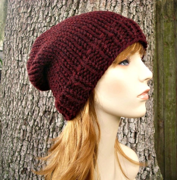 1c277670bd8 ... Burgundy Red Knit Hat Red Womens Hat Slouchy Beanie Mens Hat Slouchy Hat  - Toque Beanie