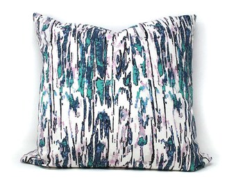 Sping BARK Throw Pillow  | Blue & White | Custom Design Fabric | 18X18 | A Portion of Proceeds go to Charity