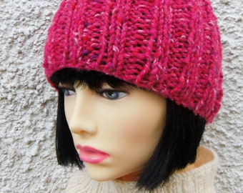 BEANIE PATTERNS/RUSTICO/Knit Straight/ Extra Chunky Thick Rib Knit Beanie/ Easy/Quick Knit Hat/ Ribbed Beanie Pattern/Womans beanie hat