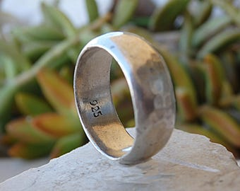 Simple Wedding Band, Mens Wedding Ring,Classic Ring, Sterling Silver Band, Gift For Boyfriend, Hammered Band Ring, Statement 925 Silver Ring