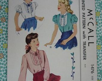 Vintage Pattern c.1949 McCall No.1476 Girls Blouse Size 10