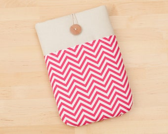 kindle case / kindle fire HDX 7 case / kobo glo case / Kindle Paperwhite sleeve / Kobo touch case / kobo glo case -  pink chevron -