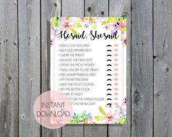 He Said She Said / Bridal Shower & Kitchen Tea Games / Pink Floral / Instant Download