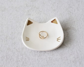 Cat Ring Dish with Gold - White