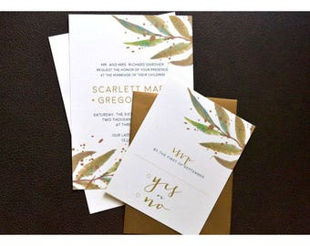 Watercolor Laurels with Gold Accents Wedding Invitations - Botanical Leaf Print - Tropical Leaf - Wedding Invite - Elegant Wedding Invite
