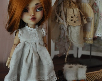 Rustic Raw Linen Dress for Blythe Licca Makies Dolls - Meadow Cottage Collection