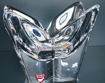 Orrefors Sweden Crystal Glass Art Lotus Bowl