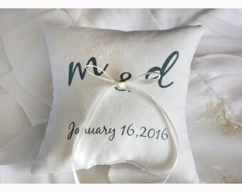 Personalized Ring bearer pillow, Wedding ring pillow , wedding pillow ,personalized ring pillow, ring bearer pillow (R4)