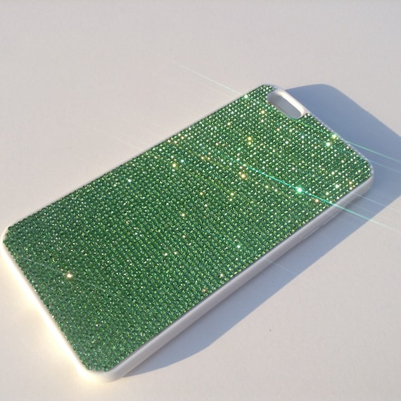 iPhone 6 Plus Case / iPhone 6s Plus Case Green Peridot Crystals on White  Rubber Case. Velvet/Silk Pouch Bag Included, .