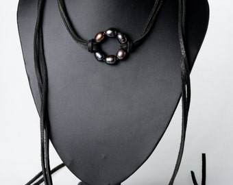 Kaya Genuine Leather and Genuine Freshwater Pearl Necklace