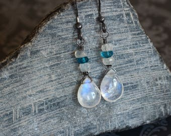 RESERVED Rainbow Moonstone Earrings on Oxidized Sterling Silver