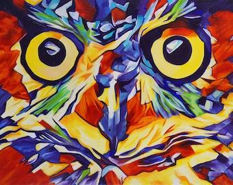 Pop Art Owl Face 1Abstract Prints - Museum Quality Fine Art Giclée Prints