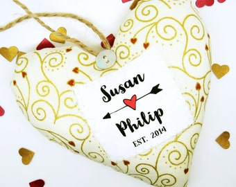 Personalised Couple's Name Heart - Personalised Valentines Gift - Choice of Fabric - Made in the UK - Gift Boxed