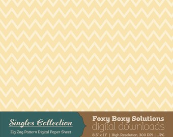 Yellow Zig Zag Printable Digital Paper - Instant Download Supply for Scrapbooking & Crafting - Single Sheet Paper Printables