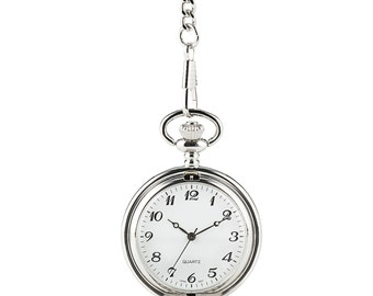 Pocket Watch - Engraved Pocket Watch - Silver Plated Pocket Watch - Custom Pocket Watch - Silver Watch - Men's Gift - Men's Accessory