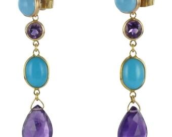 Modern 18K Yellow Gold Amethyst turquoise earrings