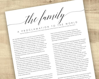 LDS Family Proclamation to the World - Digital Printable File, Family Proclamation, Proclamation on the Family, 8.5x11, 11x14, 16x20