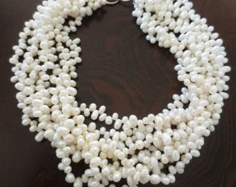 "Multi Strand Pearl Necklace Off White 16"" Long Coastal Jewelry"