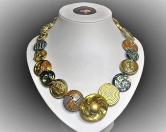 Button necklace - Golden Dream. Gift for her, boho necklace, statement necklace, unique gift, buttons, handmade jewelry, Mothers Day, OOAK