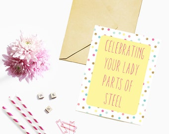 Lady Parts of Steel / Card for Mom / Expecting Mother / Soon to be Mom / New Mom / Mother's Day Card / Birthday Card for Mom / New Mother