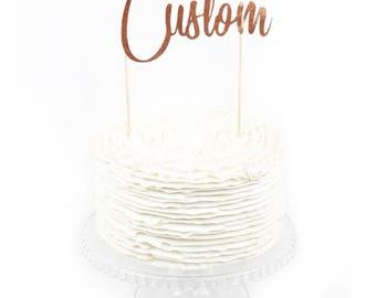 Custom Cake Topper, Cake Topper, Birthday Cake, Baby Shower, Food Decoration Rose Gold Cake Topper, Paper Topper, Customizable, Wedding Cake