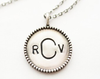 7/8 inch Sterling Silver Beaded Distressed Pendant and Necklace - Double Sided - Stamping on BOTH Sides