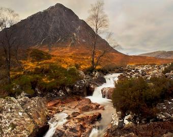 Glencoe Falls Print | Scotland Photography | Scottish Highlands | Landscape Photography | Waterfall Photography | Orange Wall Decor | Sky