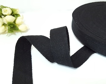10 yds-100 yds Black Cotton Twill Tape (Double Arrow) Wrapping Binding Tape Bias Tape 1 inch / 25mm TR21